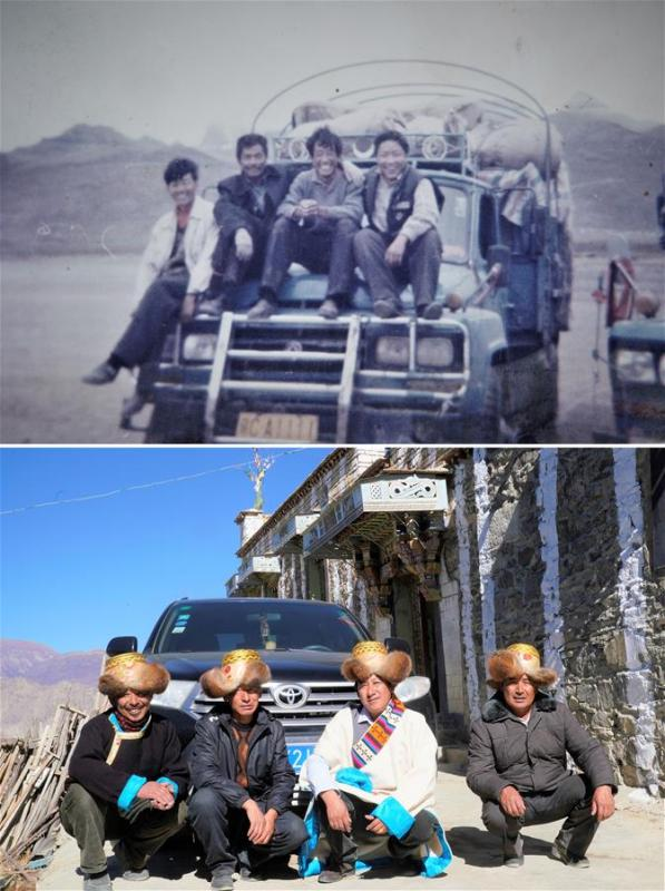 The upper part of this combo photo taken in 1994 shows 24-year-old Jamba (2nd R) and his brothers posing for a group photo on their truck as they run a transportation business in Ali, southwest China\'s Tibet Autonomous Region. Jamba in 1986 started his transportation business with a hand tractor and in 1993 he extended his business with a newly-bought carrier vehicle. The lower part of the combo photo taken by Purbu Zhaxi on Nov. 26, 2018 shows 48-year-old Jamba (2nd R) and his brothers posing for a photo in front of a private car of their family. In 2012, Jamba set up his own transportation company and then he bought a private car. (Xinhua)