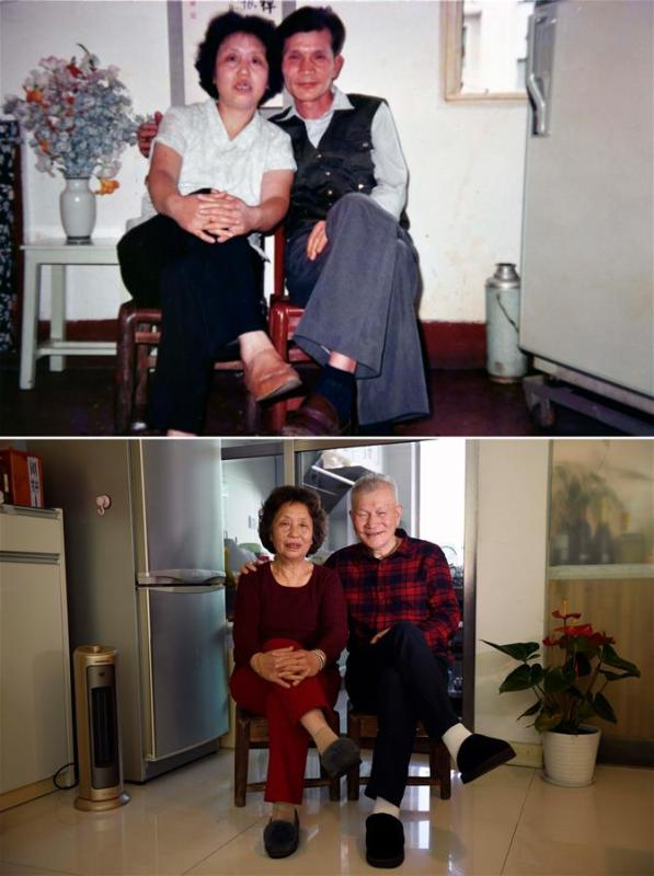 The upper part of this combo photo taken in 1992 shows 50-year-old Qian Zhenghua posing for a photo with his 44-year-old wife Yang Jiamei in a small dormitory room provided by his work unit in Changsha, capital of central China\'s Hunan Province. The fridge standing in the small dormitory room was second-hand. The lower part of the combo photo taken by Li Ga on Nov. 28, 2018 shows 76-year-old Qian Zhenghua and his 70-year-old wife posing for a photo at their own 200-square-meter duplex apartment with modern appliances in Changsha. This year marks their golden (50 years) wedding anniversary. (Xinhua)