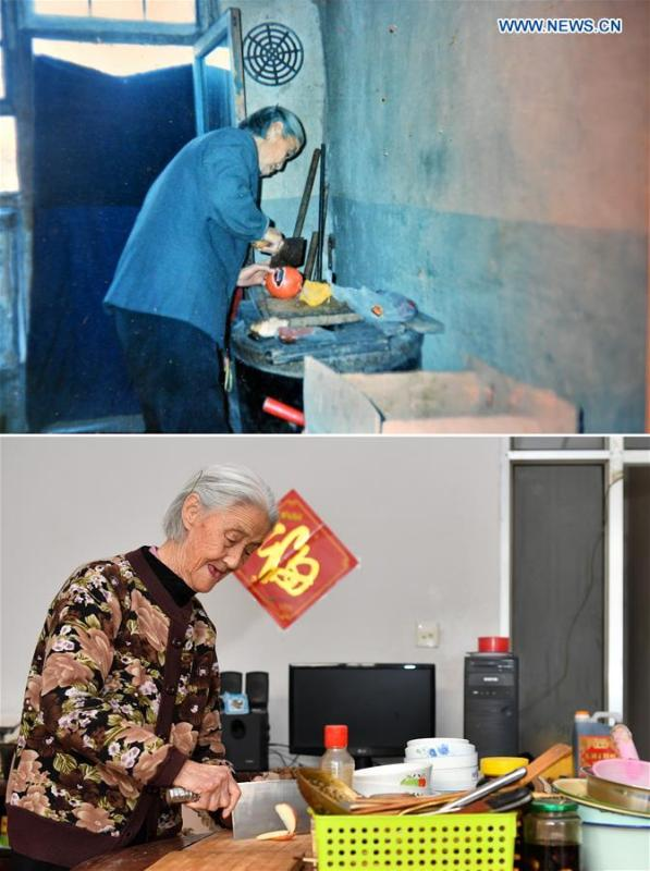 The upper part of this combo photo taken on Feb. 10, 1997 shows 69-year-old Xue Meixiang preparing meal at a cave dwelling where her family lived in for over 40 years in Zhengcun Village of Taiyuan, north China\'s Shanxi Province. At that time, they used kerosene lamps and slept on brick beds. The lower part of the combo photo taken by Cao Yang on Nov. 20, 2018 shows 90-year-old Xue preparing fruits at her new apartment in a residential building in Taiyuan. The family two years ago moved to the new residence where not only modern home appliances are available but also they have heating system for winter. (Xinhua)