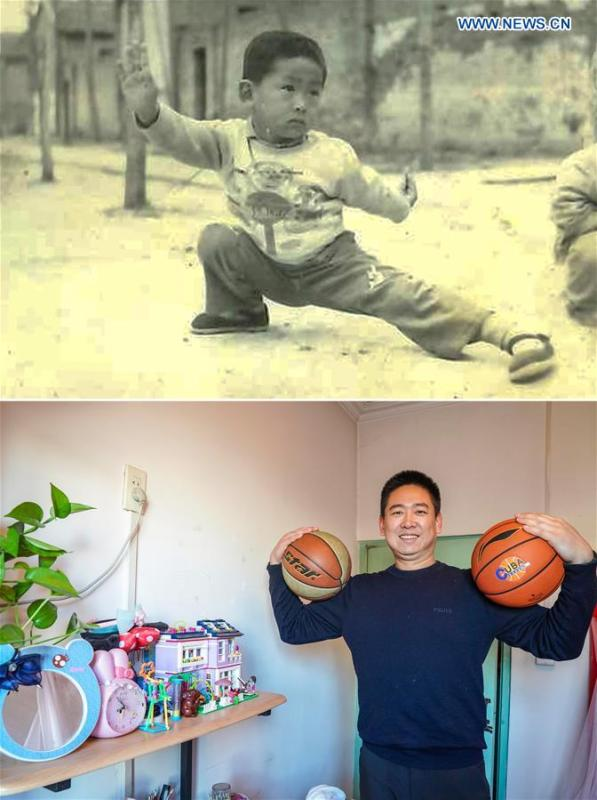 The upper part of this combo photo taken in 1985 shows six-year-old Zhou Peng practicing martial arts in a college campus where his home was located, in east China\'s Shandong Province. The lower part of the combo photo taken by Yin Gang on Nov. 29, 2018 shows 39-year-old Zhou Peng posing for a photo with basketballs in his apartment in Beijing. Zhou, now a teacher of People\'s Public Security University of China, said his biggest childhood dream was to drive a car and live in a tall building. Many \