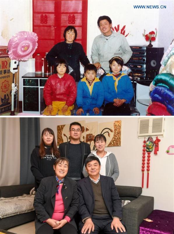 The upper part of this combo photo taken in 1992 shows 35-year-old Wei Shiping (back, R) posing for a group photo with his wife and children at the home of his newly-married brother in Yandun Town of Hefei City, capital of east China\'s Anhui Province. The lower part of the combo photo taken by Zhang Duan shows 61-year-old Wei Shiping, his wife and children posing for a photo at his home in Hefei City, Nov. 14, 2018. Wei Shiping, who is now retired, often travels and joins parties with his friends. (Xinhua)