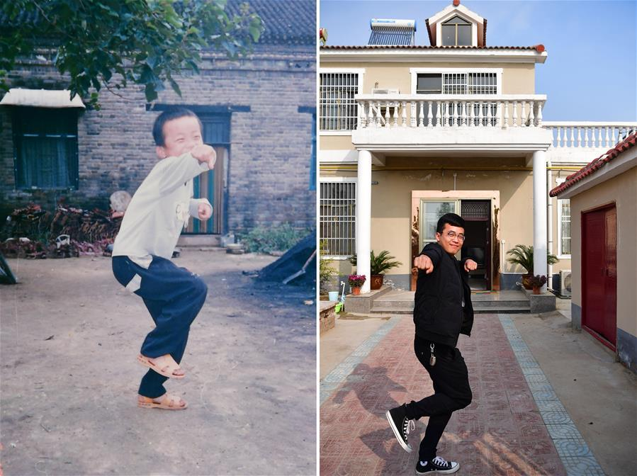 The left part of this combo photo taken on Oct. 6, 2002 shows six-year-old Li Aoxing posing for a photo in front of his house at Penyao Village in Lankao County, central China\'s Henan Province. At that time, Li Aoxing\'s home was an old-fashioned brick house with flooring area of over 80 square meters. The right part of the combo photo taken by Feng Dapeng on Nov. 14, 2018 shows 22-year-old Li Aoxing posing the similar gesture at the yard of his new house. By engaging in the business of trading construction materials, Li\'s family has seen their living conditions greatly improved. In 2010, with the help of local government, Li\'s family got a 150-square-meter house. (Xinhua)
