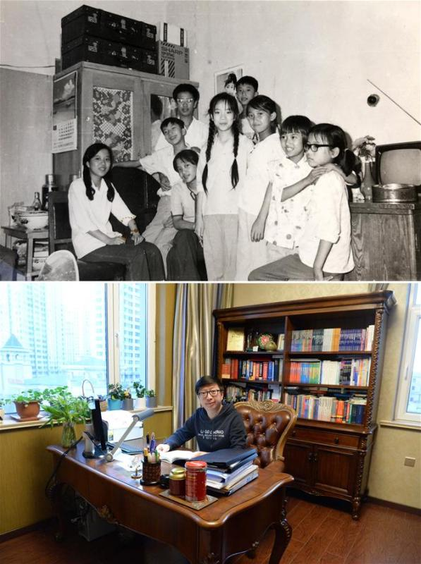 The upper part of this combo photo taken in 1982 shows 13-year-old Sun Guangzhi (2nd L) posing for a group photo with his siblings in Harbin, northeast China\'s Heilongjiang Province. At that time Sun Guangzhi\'s family lived in a 40-square-meter apartment. Sun had no room of his own. The lower part of the combo photo taken by Wang Kai on Nov. 29, 2018 shows 49-year-old Sun Guangzhi in his own study in Harbin. Sun Guangzhi is now a foreign language teacher at Heilongjiang University and lives in his 120-square-meter apartment with a spacious study. (Xinhua)