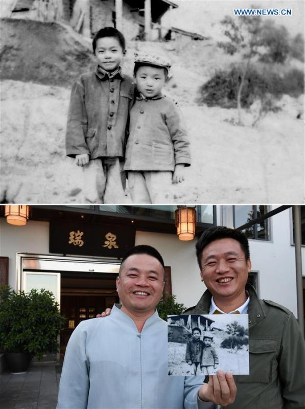 The upper part of this combo photo taken in 1980 shows seven-year-old Huang Shenghui (L) posing for a photo with his younger brother Huang Shengliang at Tianxin Village of Wuyishan City, southeast China\'s Fujian Province. They lived in an old shabby house. The lower part of the combo photo taken by Zhang Guojun on Nov. 30, 2018 shows 45-year-old Huang Shenghui (L) posing for a photo with his younger brother Huang Shengliang in the yard of his house at Tianxin Village of Wuyishan City. Born in a poor rural tea farm family, Huang inherited traditional tea-making techniques. Now he helps his family get rid of poverty with tea production. (Xinhua)