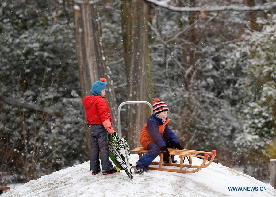 Children sled at the snow-covered Grueneburg Park in Frankfurt, Germany, on Dec. 16, 2018. A snowfall hit Frankfurt on Sunday. (Xinhua/Lu Yang)
