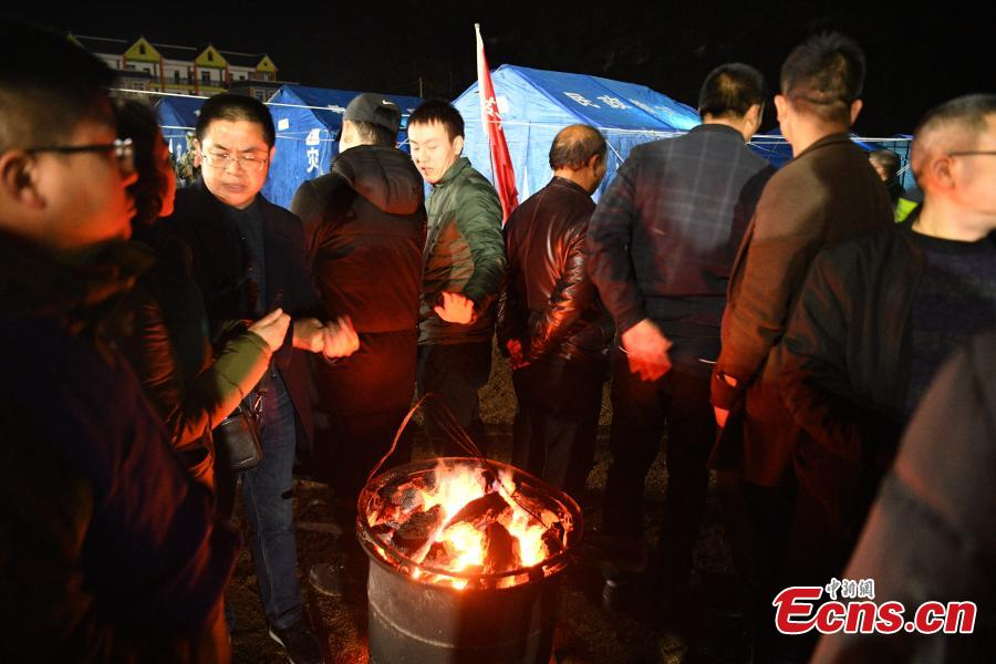 People affected by an earthquake stay at a temporary shelter in Xingwen County, Southwest China's Sichuan Province, Dec. 17, 2018. A magnitude 5.7 earthquake jolted the county Sunday. As at 5:30 p.m. Sunday, 16 people had been reported injured in the earthquake. (Photo: China News Service/Liu Zhongjun)