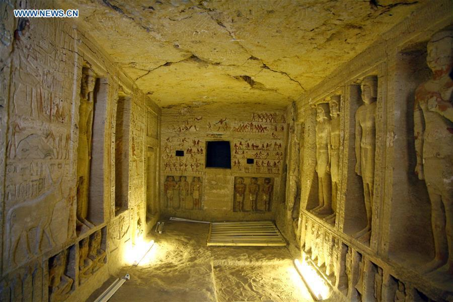 Photo taken on Dec. 15, 2018 shows the interior of a tomb in Saqqara Necropolis in Giza, Egypt. Egyptian Antiquities Minister Khaled al-Anany announced Saturday the discovery of an \