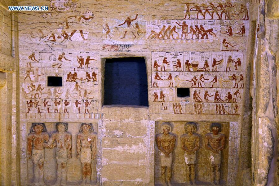 Photo taken on Dec. 15, 2018 shows the paintings in a tomb in Saqqara Necropolis in Giza, Egypt. Egyptian Antiquities Minister Khaled al-Anany announced Saturday the discovery of an \