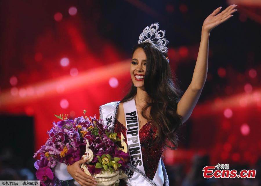 Miss Philippines Catriona Gray reacts during the final round of the Miss Universe pageant in Bangkok, Thailand, Dec. 17, 2018. (Photo/Agencies)