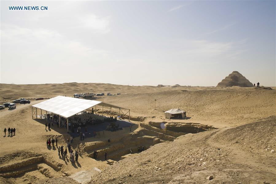 Photo taken on Dec. 15, 2018 shows the site of a press conference near a tomb in Saqqara Necropolis in Giza, Egypt. Egyptian Antiquities Minister Khaled al-Anany announced Saturday the discovery of an \