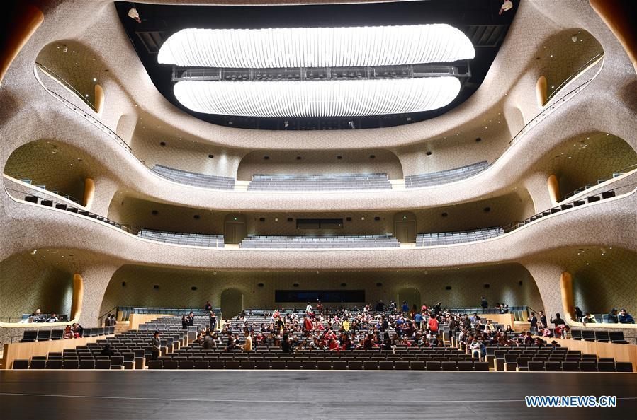 Citizens visit the opera theater of the Fuzhou Strait Cultural Art Center in Fuzhou, southeast China\'s Fujian Province, Dec. 16, 2018. The center held open day activities on Sunday. (Xinhua/Jiang Kehong)