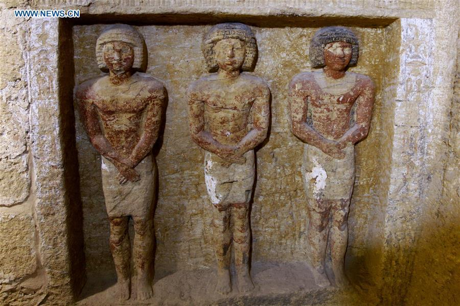 Photo taken on Dec. 15, 2018 shows the sculptures in a tomb in Saqqara Necropolis in Giza, Egypt. Egyptian Antiquities Minister Khaled al-Anany announced Saturday the discovery of an \