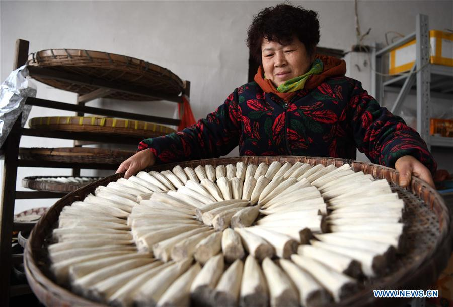 A worker prepares to dry the Xuan ink brushes at a workshop in Huangcun Town of Jingxian County, east China\'s Anhui Province, Dec. 14, 2018. Huangcun Town has a long history of the Xuan ink brush making. The ink brush, ink, Chinese Xuan paper and ink slabs are four traditional writing materials of Chinese stationery. (Xinhua/Liu Junxi)