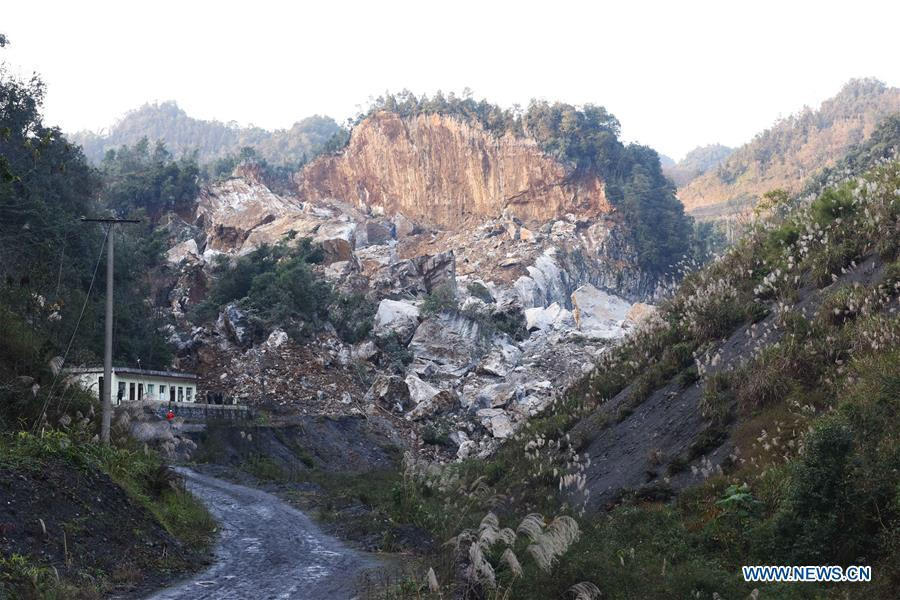 A landslide site is pictured in Luopu Village after a 5.7 magnitude earthquake hit Zhoujia Township of Xingwen County, southwest China\'s Sichuan Province, Dec. 16, 2018. China\'s emergency regulator on Sunday initiated a national emergency response to a magnitude 5.7 earthquake in southwest China\'s Sichuan Province. The earthquake hit the county of Xingwen in the city of Yibin, Sichuan Province, at 12:46 p.m. Sunday, with a depth of 12 km, according to the local government. By 5:30 p.m. Sunday, 16 people had been reported injured in the earthquake, the ministry said. (Xinhua/Zhang Kefan)