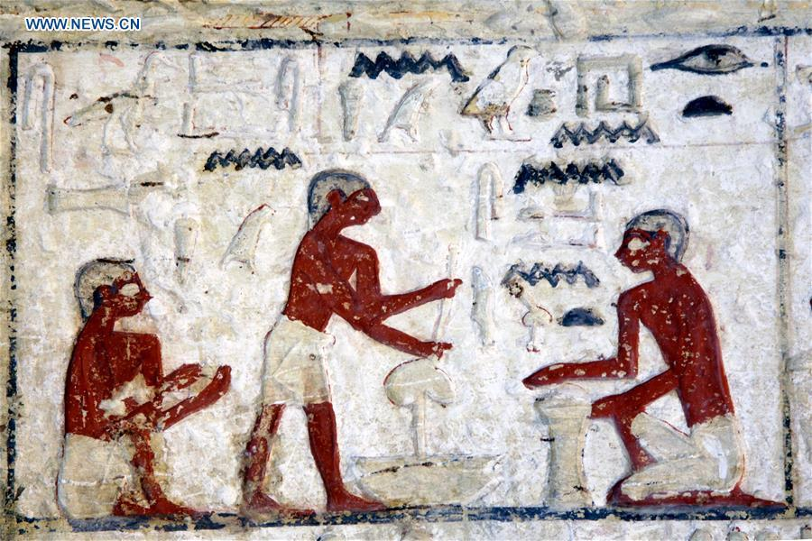 Photo taken on Dec. 15, 2018 shows the painting in a tomb in Saqqara Necropolis in Giza, Egypt. Egyptian Antiquities Minister Khaled al-Anany announced Saturday the discovery of an \