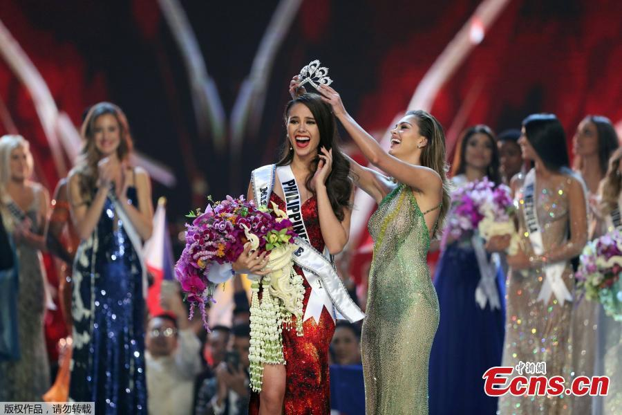 Miss Philippines Catriona Gray is crowned Miss Universe during the final round of the Miss Universe pageant in Bangkok, Thailand, Dec. 17, 2018. (Photo/Agencies)