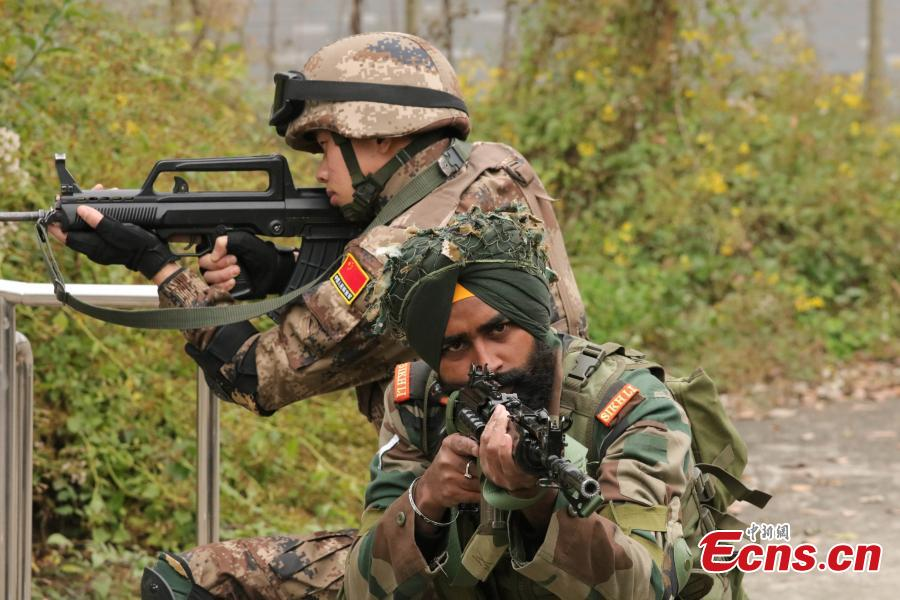 The anti-terrorism training drill between Chinese and Indian armies is underway in Chengdu, Southwest China's Sichuan Province. Codenamed \