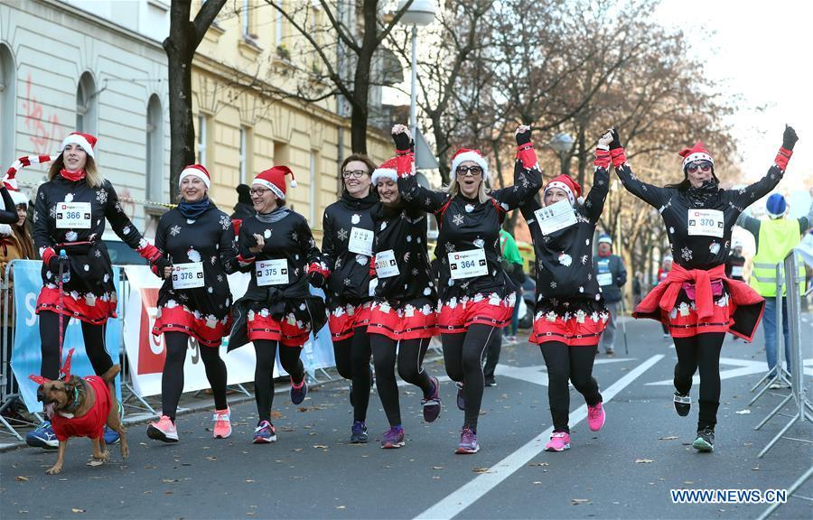 People take part in the third edition of Zagreb Advent Run in Zagreb, Croatia, on Dec. 16, 2018. More than 2,500 participants took part in the race on Sunday to raise funds for fighting diabetes. (Xinhua/Sanjin Strukic)