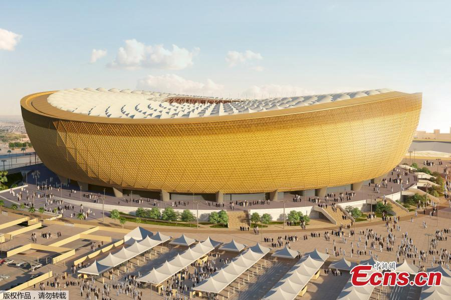 This handout picture released by the Supreme Committee for Delivery and Legacy shows a computer generated image of the Lusail stadium for the world cup 2022 during the unveiling of its design in Doha, Dec. 15, 2018. Qatar on Saturday revealed the design for the stadium that will in four years\' time host the first ever World Cup finals game to be played in the Middle East. The 80,000-seat Lusail Stadium -- also the venue for the 2022 World Cup final -- was revealed in an elaborate ceremony. During the World Cup, the temperature for the players on the field would be 26 degrees.(Photo/Agencies)