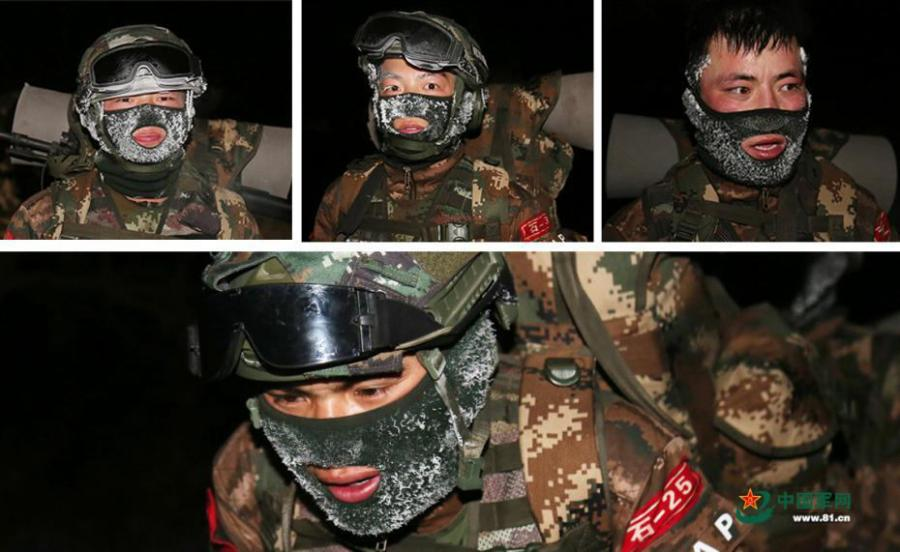 An armed police unit in northwestern China's Ningxia Hui Autonomous Region recently conducted a 10-kilometer run while fully armed, in temperatures of minus 20 degrees Celsius. The soldiers\' hair, eyelashes, and masks were covered with a thin layer of ice after the long training session, showcasing their tenacity and spirit to challenge the limits. (Photo/www.81.cn)