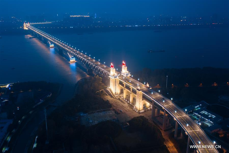Aerial photo taken on Dec. 16. 2018 shows night view of Nanjing Yangtze River Bridge after renovation in Nanjing, east China\'s Jiangsu Province. (Xinhua/Su Yang)
