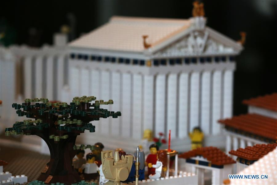 The Parthenon maquette made with Lego bricks is seen at the Acropolis Museum in Athens, Greece, on Dec. 17, 2018. The Acropolis maquette is a donation from the Nicholson Museum of Sydney. (Xinhua/Marios Lolos)