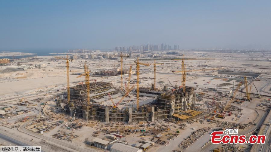 A general view of the construction site of Lusail Stadium, which will host the 2022 FIFA World Cup final, with a seating capacity of 80,000, in Lusail City, north of central Doha, Qatar, September 19, 2018.  (Photo/Agencies)