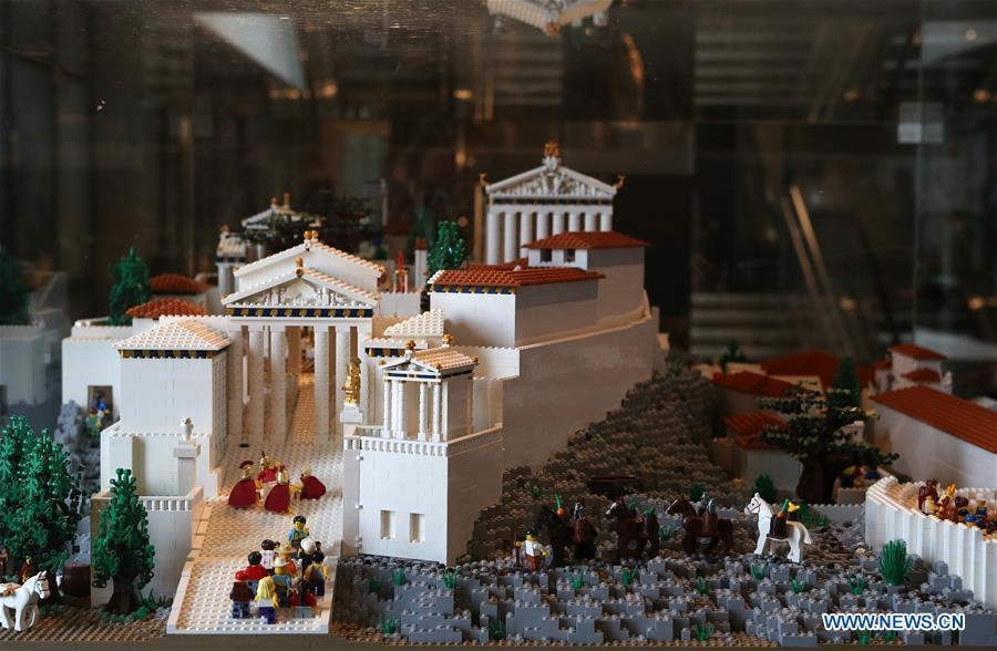 The Acropolis maquette made with Lego bricks is seen at the Acropolis Museum in Athens, Greece, on Dec. 17, 2018. The Acropolis maquette is a donation from the Nicholson Museum of Sydney. (Xinhua/Marios Lolos)
