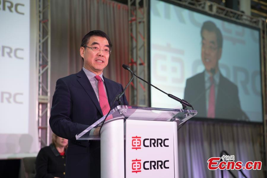 Chinese Consulate-General in New York Huang Ping makes a speech at a ceremony to mark the first train from the CRRC factory in Springfield, Massachusetts, the United States. (Photo: China News Service/Liao Pan)