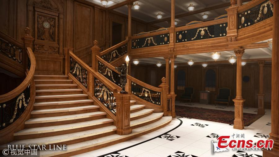 Australian billionaire Clive Palmer said work has resumed on a stalled project to build a replica of Titanic. The Titanic II is set to make its two-week maiden voyage in 2022. The ship will follow the original journey, carrying passengers from Southampton to New York. Features of the original ship, such as its grand staircase, were incorporated into early designs. (Photo/Blue Star Line)