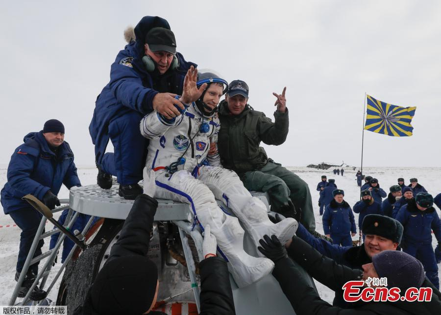 Ground personnel help International Space Station (ISS) crew member Sergey Prokopyev of Russia to get out of the Soyuz MS-09 capsule after landing in a remote area near the town of Zhezkazgan, formerly known as Dzhezkazgan, Kazakhstan, Dec. 20, 2018. Soyuz MS-09 with its three-person crew returned to Earth after more than 6 months in orbit on the International Space Station.  The Soyuz MS-09 vehicle rose to high public profile in August when a hole that resulted in a small atmospheric leak aboard the Station was discovered in its Orbital Module. (Photo/Agencies)