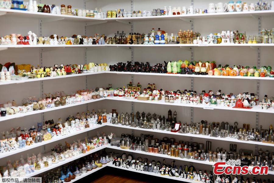 Part of Eitan Bar-on\'s collection of 37,000 pairs of salt and pepper shakers, are displayed in a shack at his backyard of his home in Hadera, Israel, Dec. 12, 2018. Bar-on's exhibit includes shaker Santas, Christmas trees, toilet seats, animals, figures in traditional dress and even a ceramic Queen Elizabeth and her dog. (Photo/Agencies)