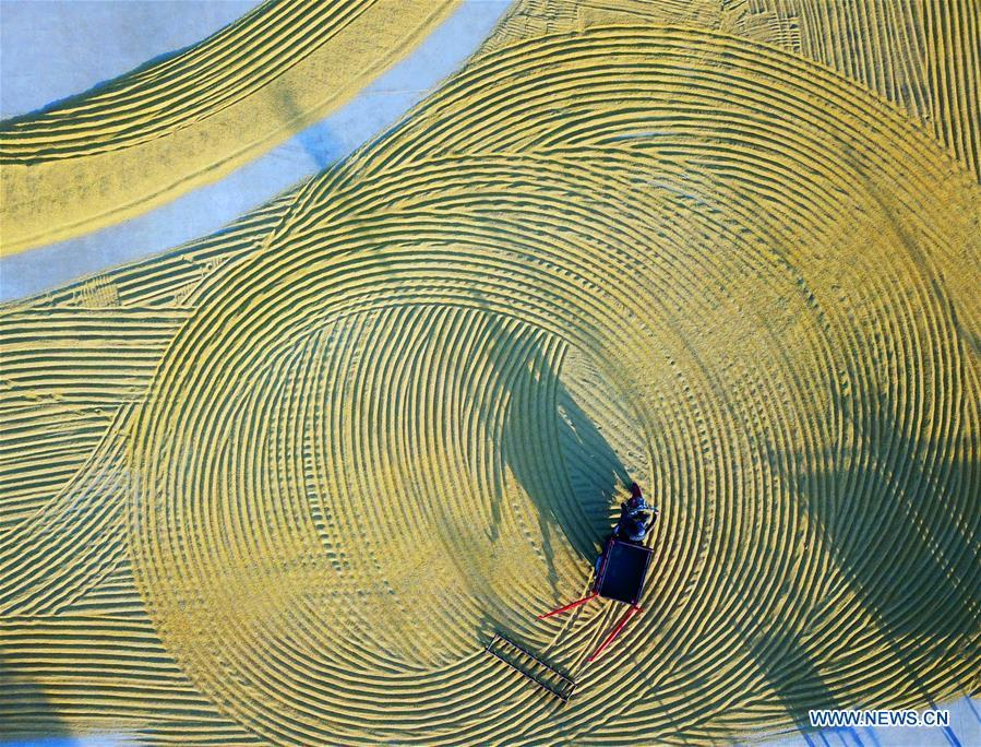 Aerial photo taken on Oct. 29, 2018 shows a farmer raking rice for air-drying in Qufang Village of the Ganyu District in Lianyungang City, east China\'s Jiangsu Province. Colors make our world bright and beautiful. In 2018, Xinhua photographers across China explored views from the sky with drones. Here are these drone photos with amazing colors. (Xinhua/Geng Yuhe)