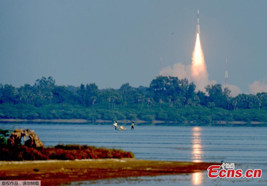India\'s Geosynchronous Satellite Launch Vehicle GSLV-F11 carrying GSAT-7A communication satellite blasts off from the Satish Dhawan Space Centre in Sriharikota, India, Dec. 19, 2018. Gsat-7A, built by the Indian Space Research Organisation, is meant for augmenting the existing communication capabilities of satellites used by the Indian Air Force, according to Indian media. (Photo/Agencies)
