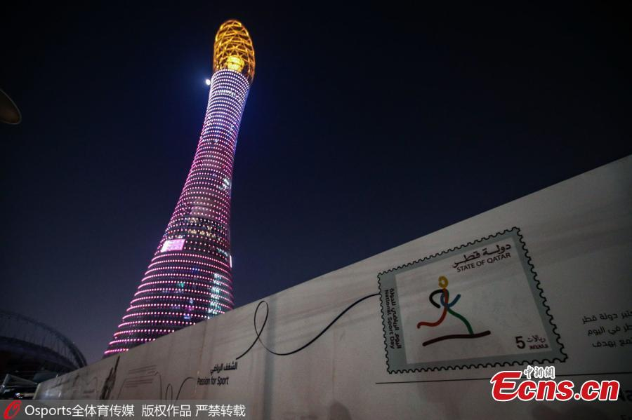 Photo taken on Dec. 20, 2018 shows the Aspire Tower, also known as the Torch Doha, a 300-metre-tall skyscraper hotel located in the Aspire Zone complex in Doha, Qatar. Chinese men\'s national soccer team players have arrived at the hotel to warm up for the upcoming 2019 AFC Asian Cup. (Photo/Osports)