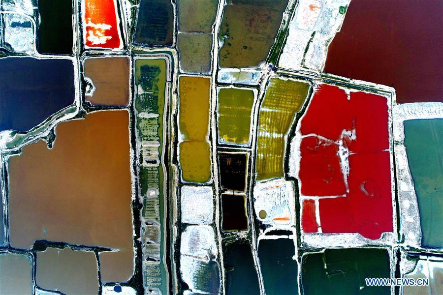 Aerial photo taken on July 24, 2018 shows the colorful Salt Lake in Yuncheng City, north China\'s Shanxi Province. Colors make our world bright and beautiful. In 2018, Xinhua photographers across China explored views from the sky with drones. Here are these drone photos with amazing colors. (Xinhua/Xue Jun)