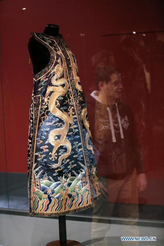 A ceremonial robe of the Chinese Emperor Qianlong (1711-1799) is seen at the exhibition \