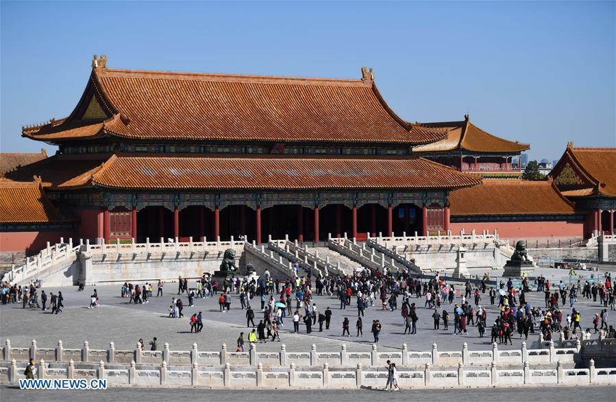Tourists visit the Palace Museum in Beijing, capital of China, Oct. 7, 2018. The Palace Museum, or the former imperial palace in downtown Beijing, will open 85 percent of its areas to the public, compared with the current 80 percent, the China Daily reported Friday. Most of the areas inside the museum, also known as the Forbidden City, will no longer be off-limits for the public, the newspaper quoted Shan Jixiang, the museum\'s curator, as saying. The biggest of its kind in the world, the Forbidden City is gradually opening more of its coverage of 720,000 square meters to visitors in recent years. Only 30 percent of its areas were accessible by the public in 2012. Some rooms that had not been opened for decades were used as \