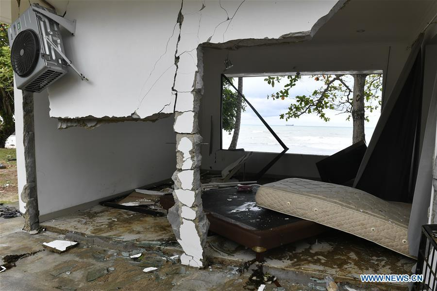 A hotel room is damaged near the beach in Carita after a tsunami hit Sunda Strait in Pandeglang, Banten province, in Indonesia, Dec. 23, 2018. The total casualty of a tsunami triggered by the eruption of Krakatau Child volcano has increased to 222 people in coastal areas of Sunda Strait of western Indonesia, disaster agency official said here on Sunday. The catastrophe killed at least 222 people, wounded at least 843 ones and collapsed a total of 556 houses and nine hotels, and caused damages to scores of ships. (Xinhua/Veri Sanovri)