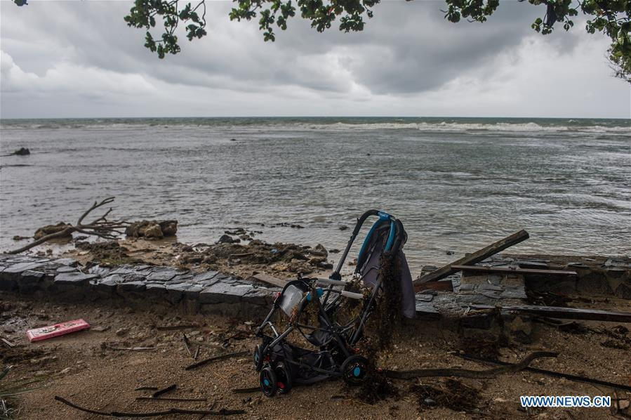 A villa is damaged after a tsunami hit Sunda Strait in Pandeglang, Banten province, in Indonesia, Dec. 23, 2018. The total casualty of a tsunami triggered by the eruption of Krakatau Child volcano has increased to 222 people in coastal areas of Sunda Strait of western Indonesia, disaster agency official said here on Sunday. The catastrophe killed at least 222 people, wounded at least 843 ones and collapsed a total of 556 houses and nine hotels, and caused damages to scores of ships. (Xinhua/Veri Sanovri)