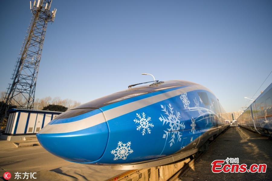 The China Railway S&T Innovation Achievement Exhibition opens at China National Railway Test Centre in Beijing, Dec. 24, 2018. The exhibition showcases China\'s homegrown railway technology and equipment, displaying the Fuxing, or Rejuvenation, bullet trains in various configurations. Entirely designed and manufactured in China, today\'s Fuxing trains are more spacious and energy efficient, with a longer service life and better reliability than previous models. The exhibition includes the 17-car version that runs up to 350 kilometers an hour, an eight-car version that runs at 250 kilometers per hour and trains with a designed speed of 160 kilometers an hour. (Photo/IC)