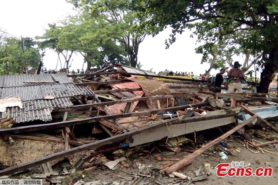A tsunami killed at least 222 people and injured hundreds on the Indonesian islands of Java and Sumatra following an underwater landslide believed to have been caused by the erupting Anak Krakatau volcano, officials said on Sunday, Dec, 23, 2018. Hundreds of homes and other buildings were heavily damaged when the tsunami struck, almost without warning, along the rim of the Sunda Strait late on Saturday. (Photo/Agencies)