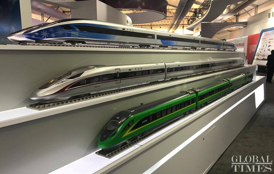 Three new additions to China\'s Fuxing bullet trains were unveiled in Beijing on Monday, including the long-awaited 17-coach CR400AF-B with a designed speed of 350 km/h. (Photos: Li Xuanmin/GT)