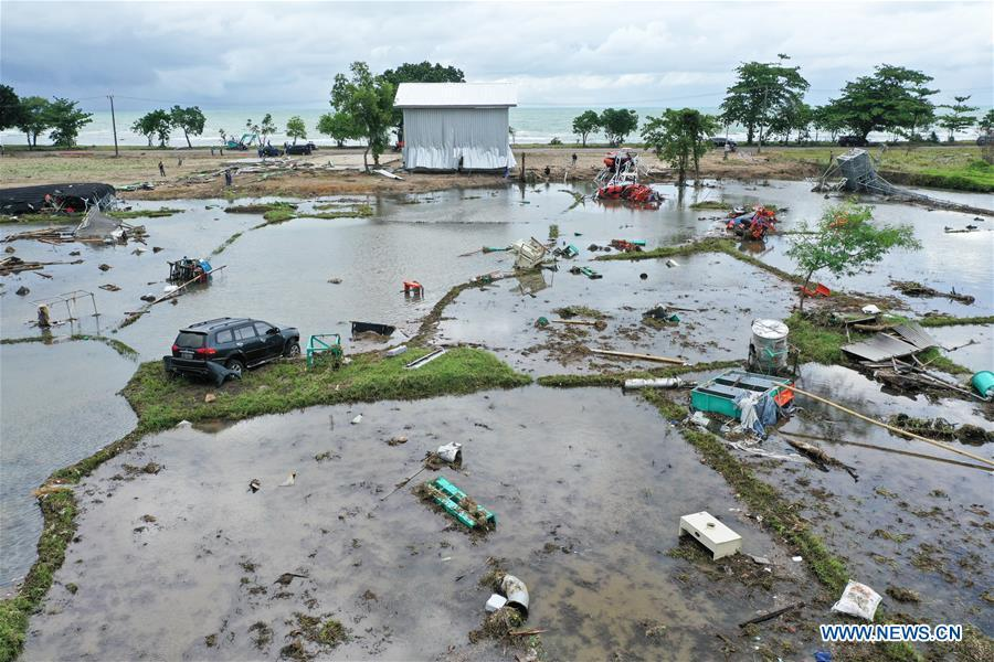 A farmland is damaged by tsunami in Banten Province, in Indonesia, Dec. 24, 2018. The Indonesian disaster agency on Monday put the death toll of the tsunami triggered by a volcanic eruption at 373 with 1,459 others injured, a spokesman of the agency told Xinhua on Monday. (Xinhua/Du Yu)