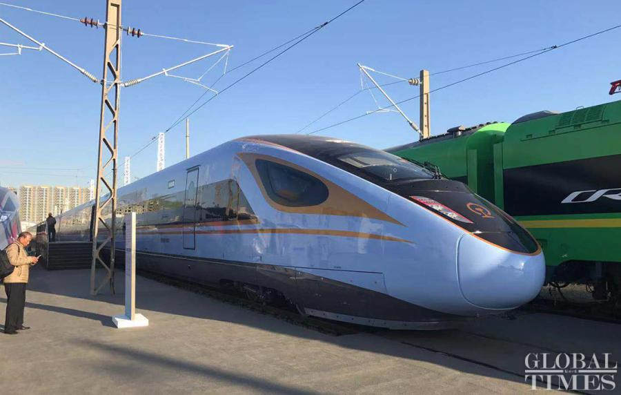 The new Fuxing bullet train CR300BF, also known as Rejuvenation, has a maximum speed of 250 km/h and eight coaches. It debuted on Monday at a testing field for China Railway Corp in Beijing\'s Chaoyang District. (Photos: Li Xuanmin/GT)