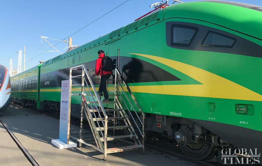 China Railway Corp also unveiled new Fuxing Bullet train CR200J, which has a maximum speed of 160 km/h. The new model, which has a centralized power Electric Multiple Unit (EMU) that can accommodate current maintenance equipments, will replace some of the regular trains running on China\'s railway network in the future.  (Photos: Li Xuanmin/GT)