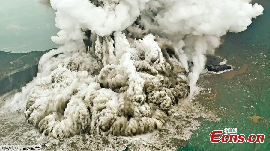 An aerial view of the Anak Krakatau volcano was captured by photographer Antara Foto during an eruption in South Lampung, Indonesia on Sunday.  (Photo/Agencies)