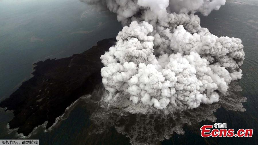 An aerial view of the Anak Krakatau volcano was captured by photographer Antara Foto during an eruption in South Lampung, Indonesia on Sunday. A tsunami struck beaches around the Sunda Strait on Saturday night causing 429 deaths, official said. (Photo/Agencies)