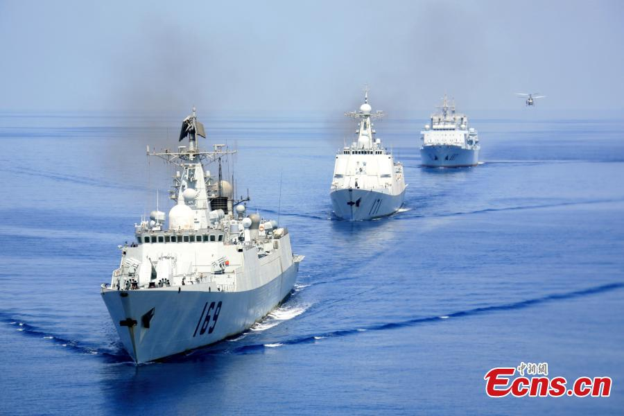 A Chinese three-ship fleet, consisting of destroyer Wuhan and Haikou, and the supply ship Weishanhu, in an anti-piracy mission at the Gulf of Aden in April 2009. (Photo: China News Service/Li Tang)  The Chinese Navy began escort missions in the Gulf of Aden and the waters off Somalia in December 2008. In the past 10 years, the Chinese Navy has sent out 26,000 officers and soldiers, escorted 6,595 ships and successfully rescued or aided more than 60 Chinese and foreign ships.