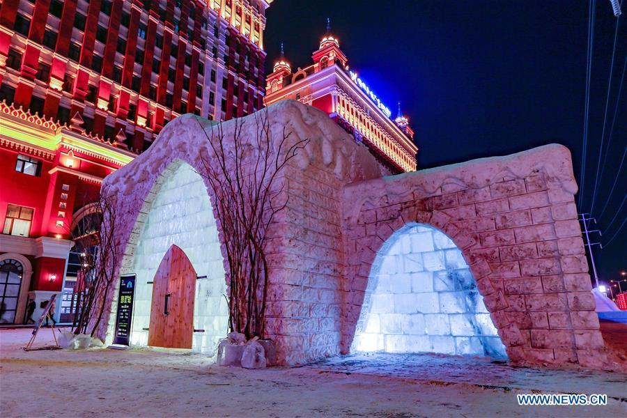 Photo taken on Dec. 25, 2018 shows the exterior of an ice and snow hotel in Hailar of Hulun Buir, north China\'s Inner Mongolia Autonomous Region. The hotel, made from 8,000 tons of ice and snow, attracts many tourists. (Xinhua/Yu Dongsheng)